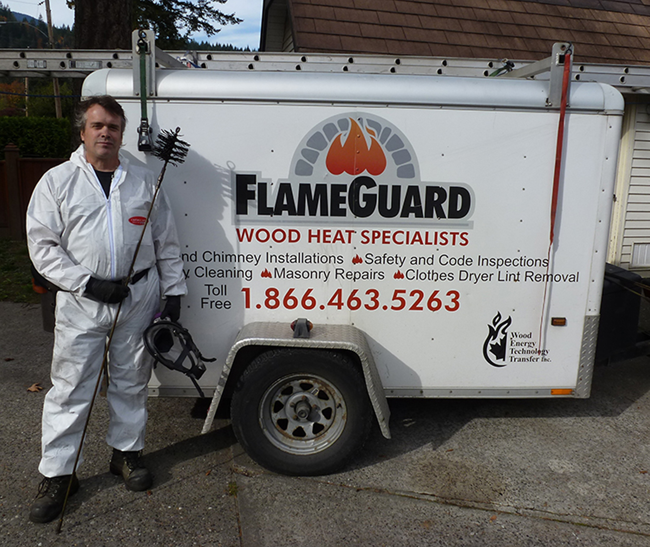 Chimney cleaning - chimney sweeping equipment trailer with Flameguard Andrew Kreller (owner)